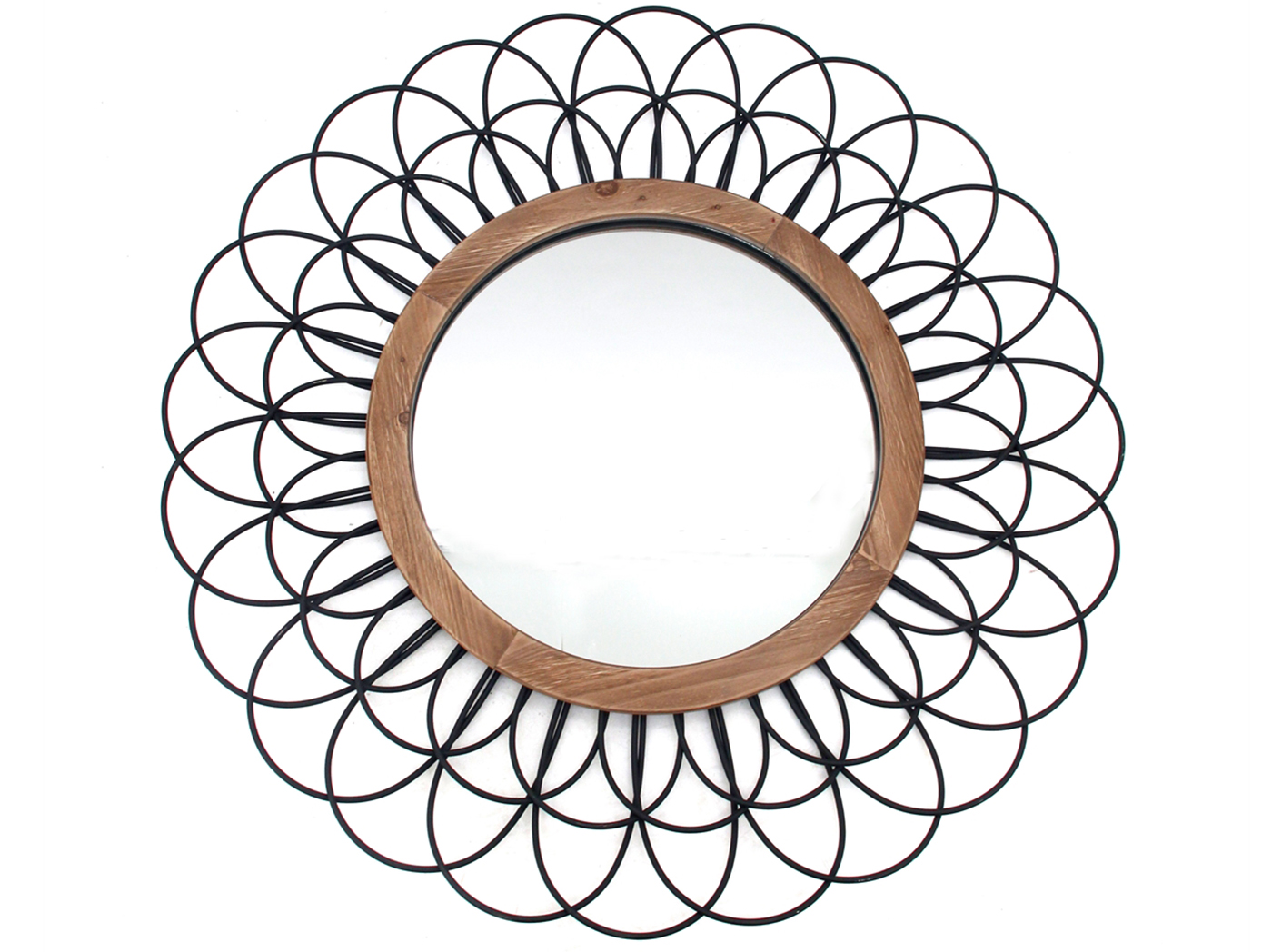 Black Metal Loop Wall Mirror 39""