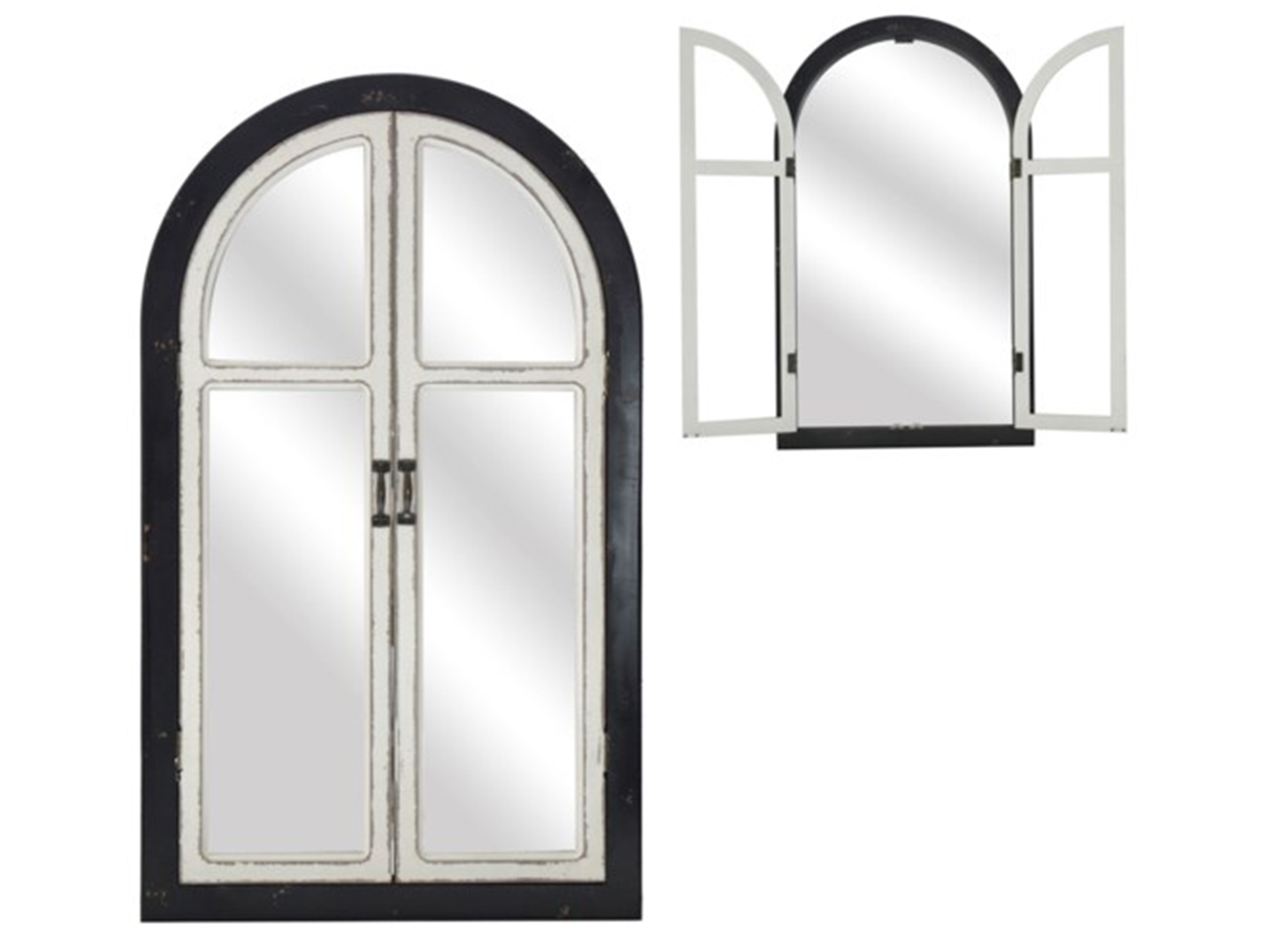 "Black & White Arch Mirror With Doors 21.5""W x 36""H"