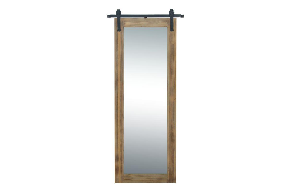 "Barndoor Wood and Metal Wall Mirror 32""W X 70""H"