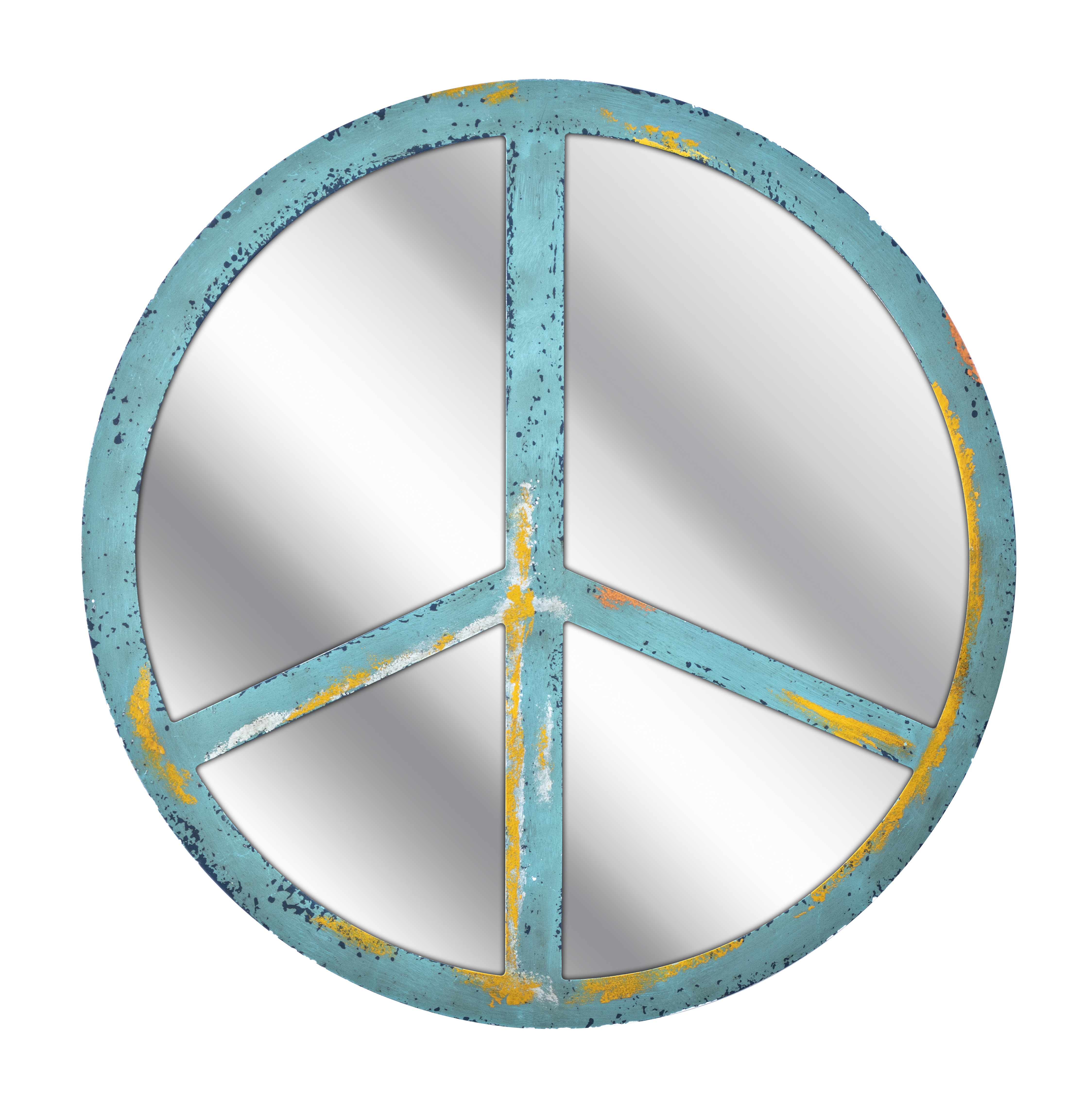 "Blue Peace Sign Mirror 24"" Rd."