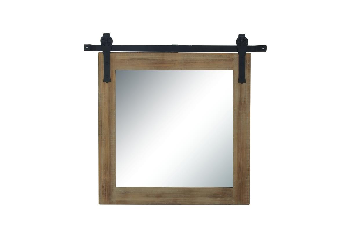 "Barndoor Wood and Metal Wall Mirror 34""W X 31""H"