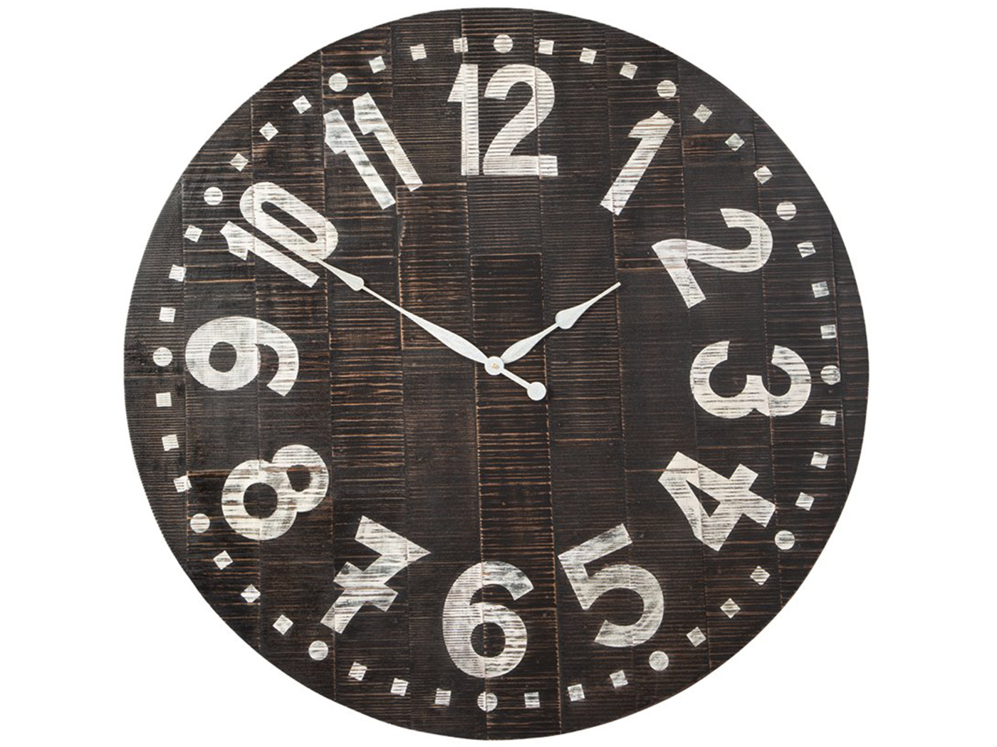 "Black and White Wood Wall Clock 39""Dia."