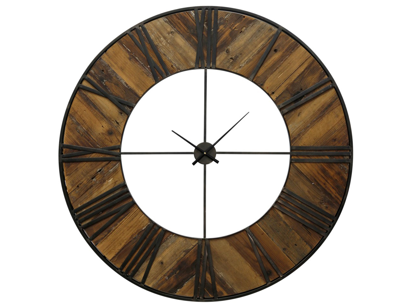 Wood & Metal Plank Wall Clock 47""