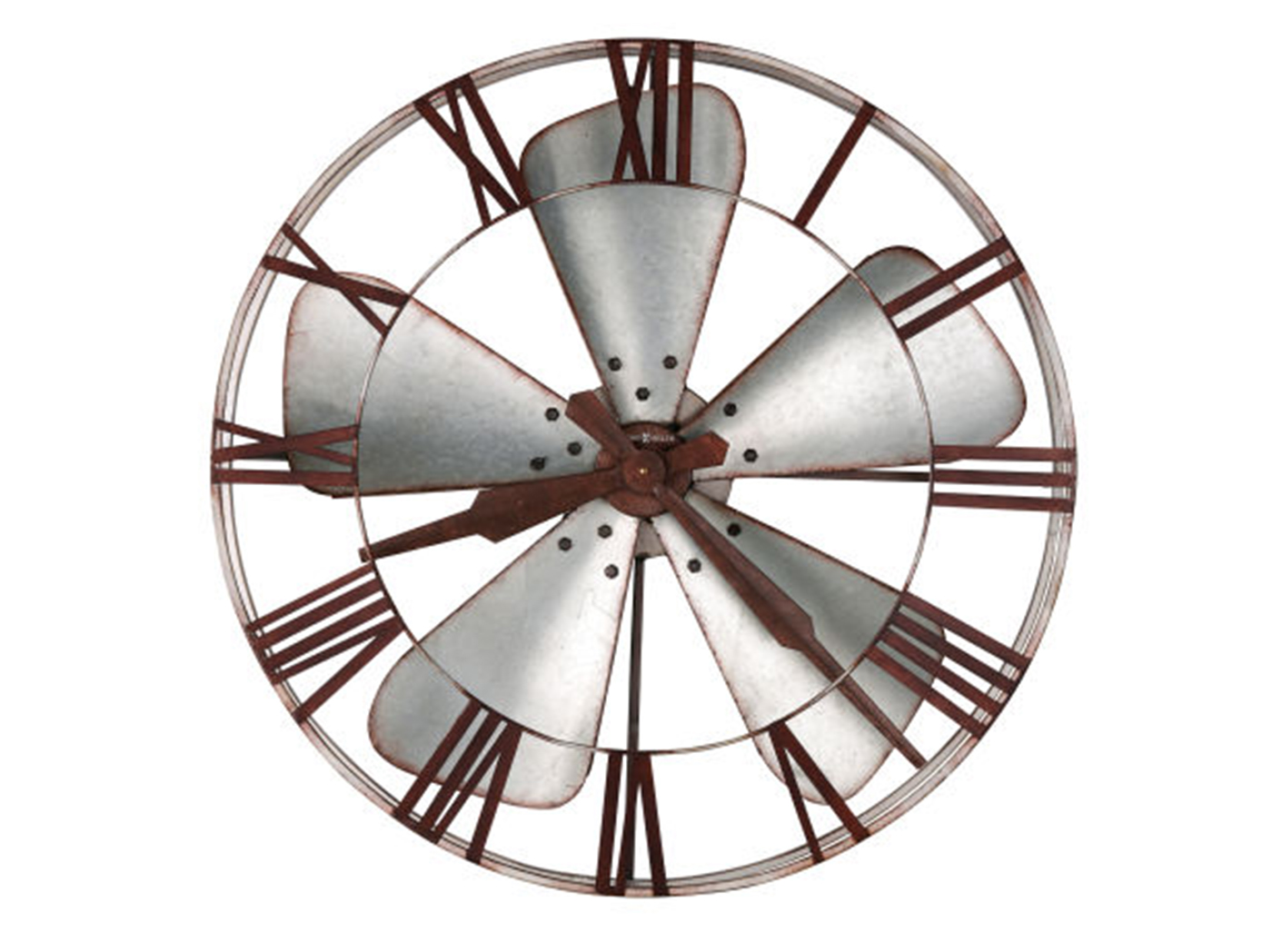 Howard Miller Silver Iron Fan Blades Wall Clock 31.5""
