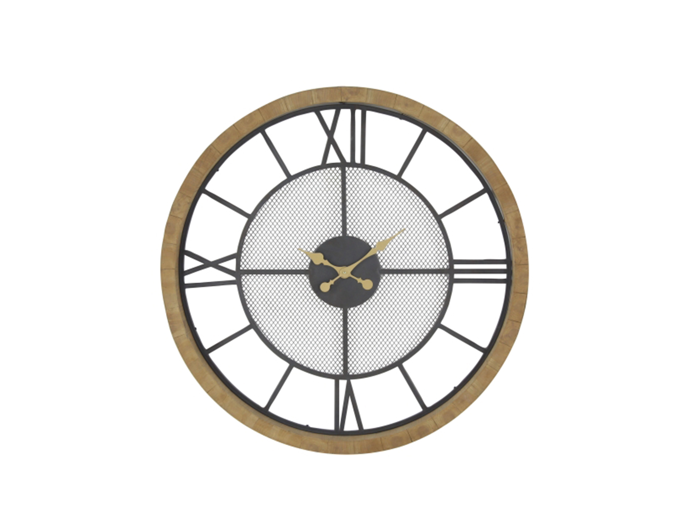Wood and Metal Screen Center Round Wall Clock 40""