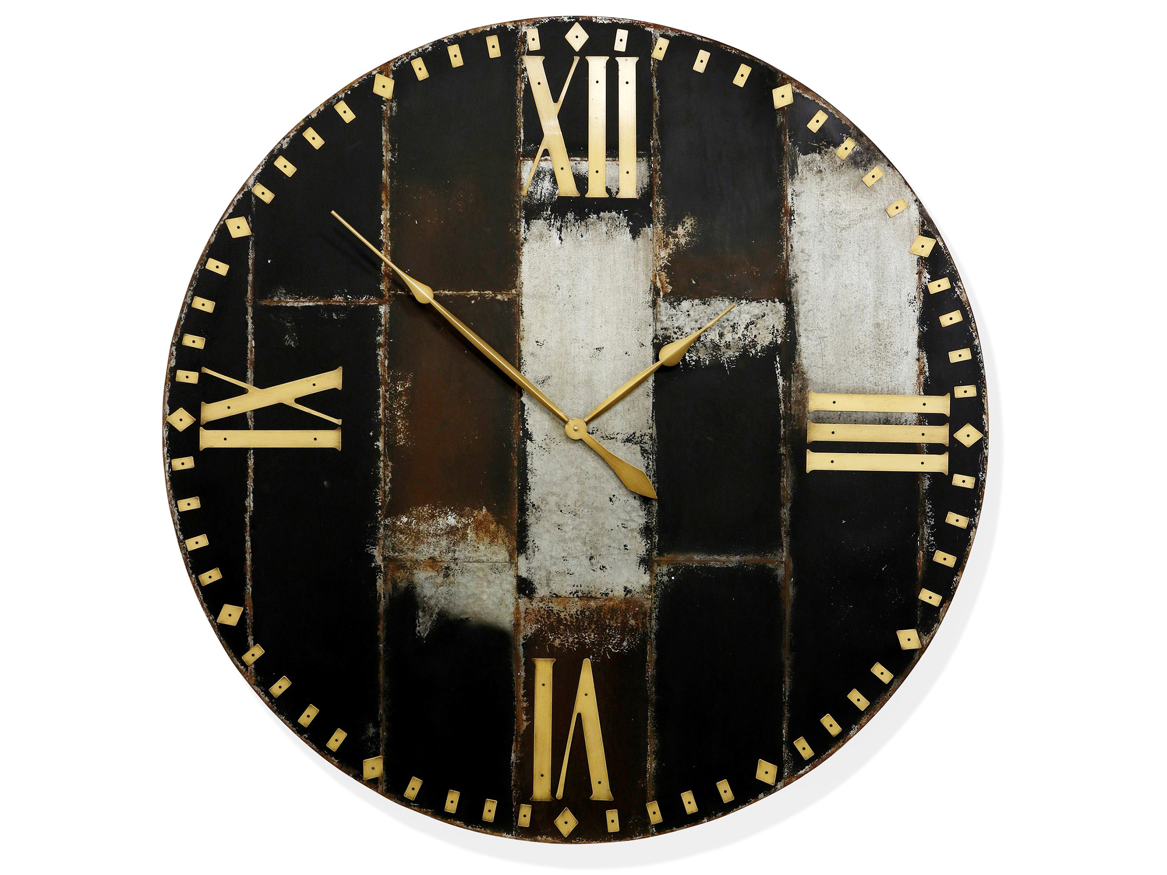 "Metal Patchwork Wall Clock 46""Dia."