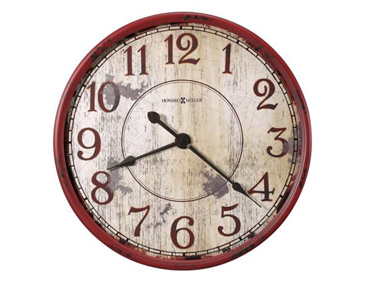 Antique White and Red Wall Clock