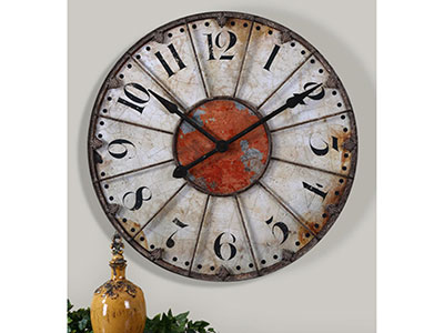 Ivory and Red Crackle Wall Clock 30""