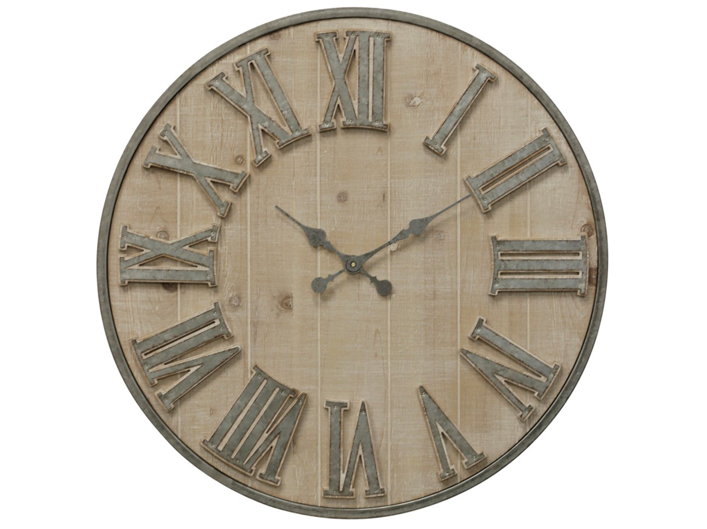 Whitewashed Wall Clock 30""