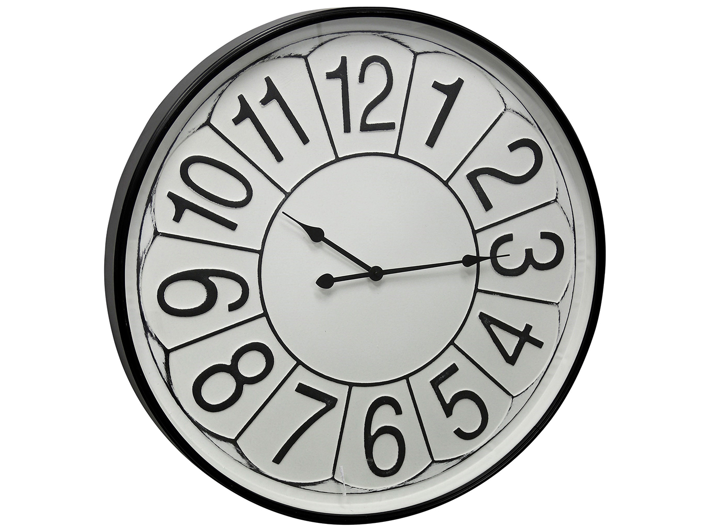 Black and White Metal and Glass Wall Clock 31.5""