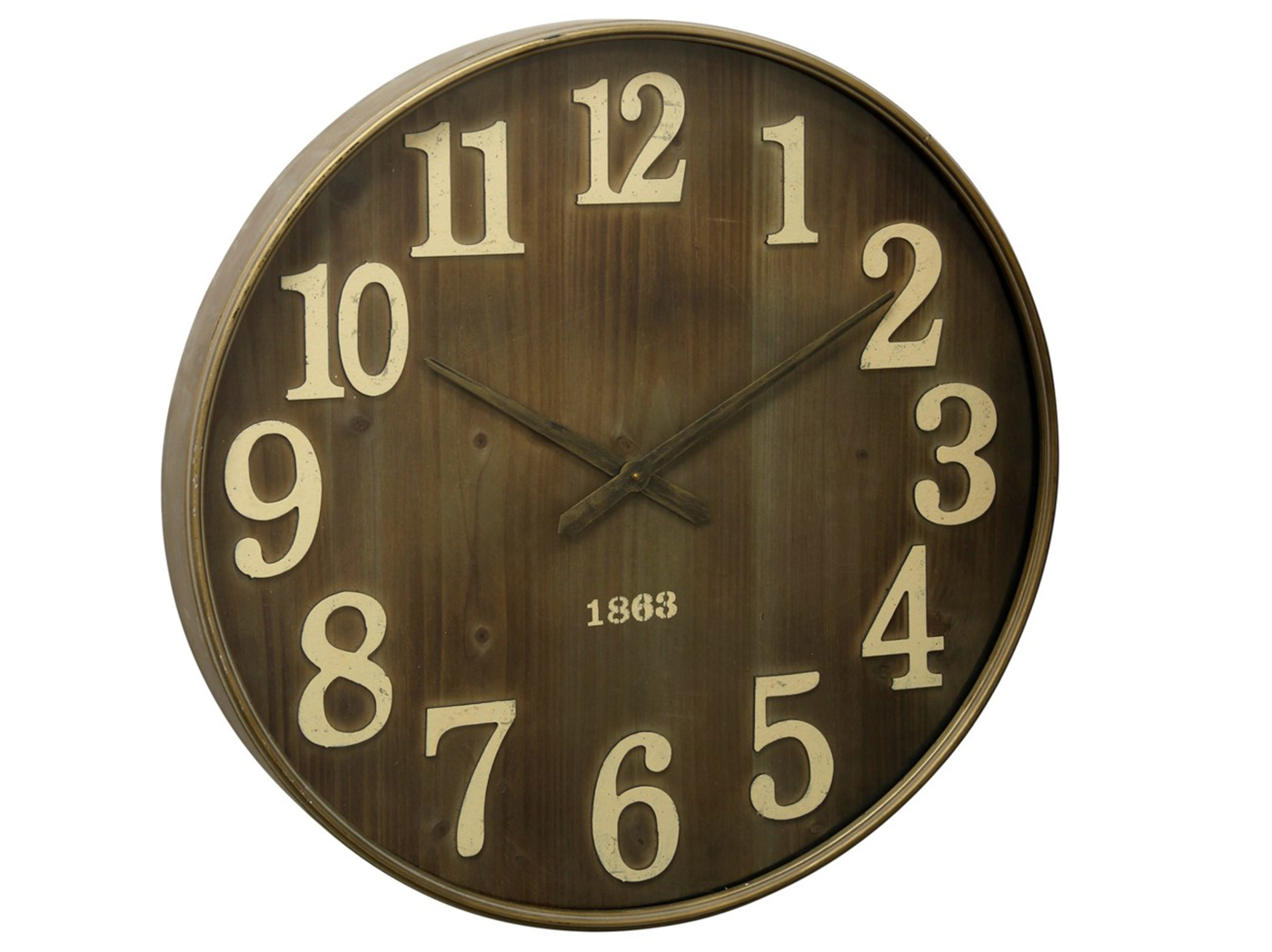 Wood & Metal Wall Clock 28""