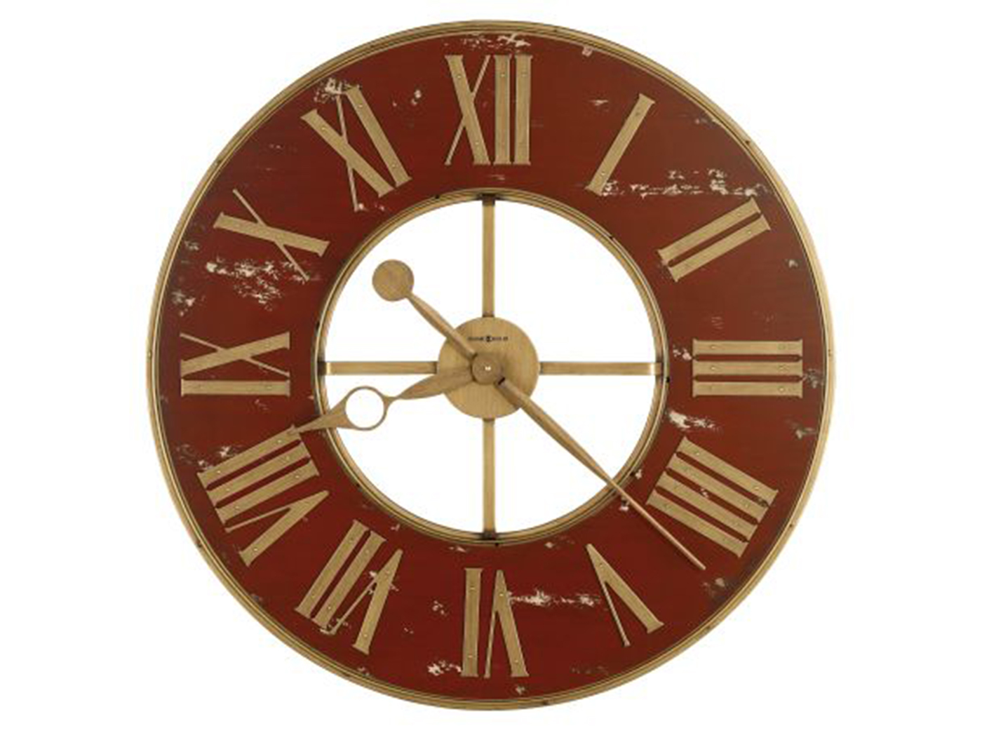 Howard Miller Ant.Red/Brass Wall Clock 32""
