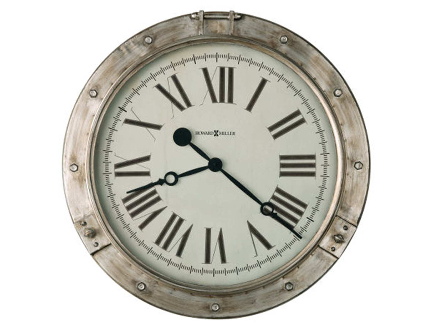 "Howard Miller Aged Silver Porthole Wall Clock 28.25""Dia."