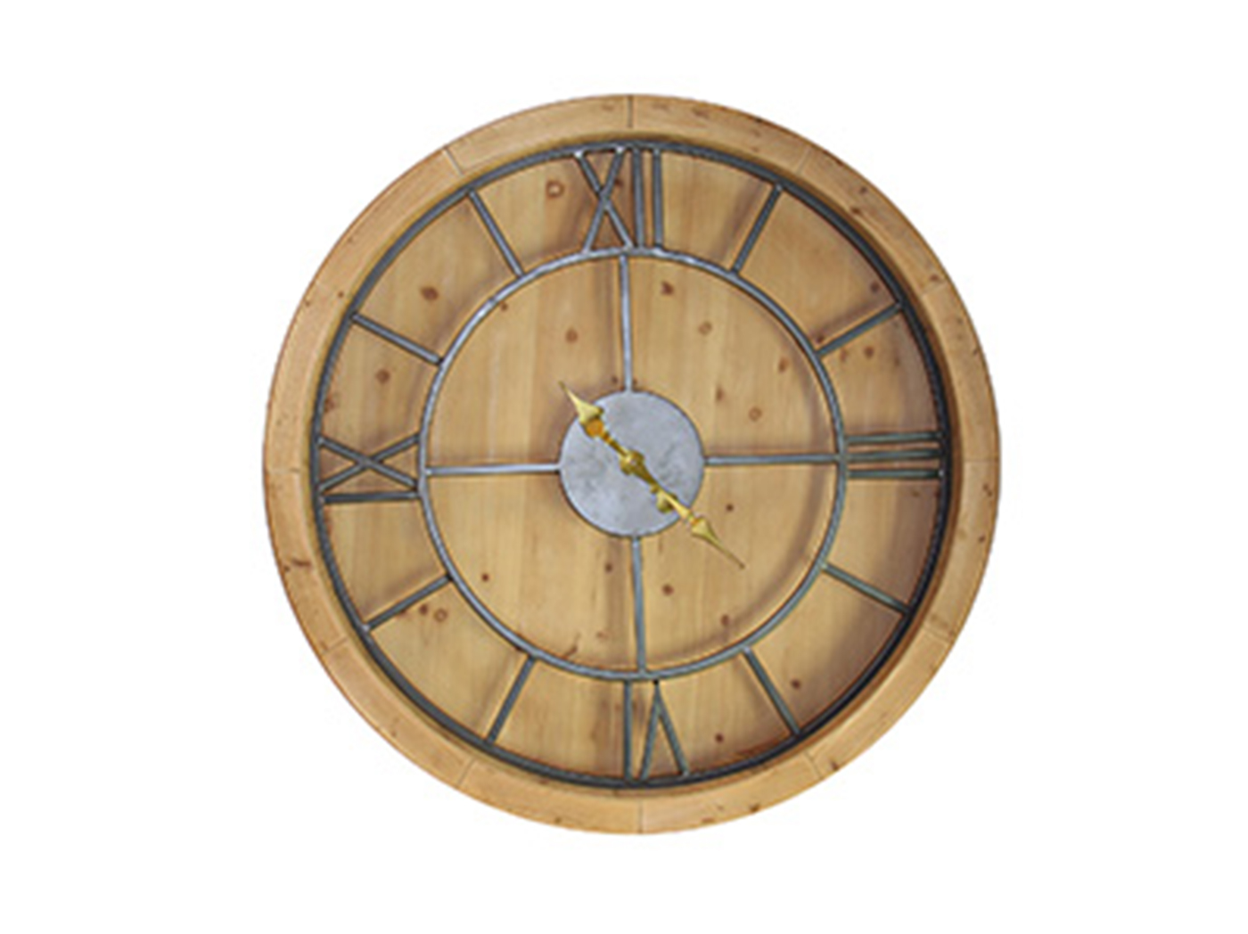 Wood and Metal Wall Clock 40""