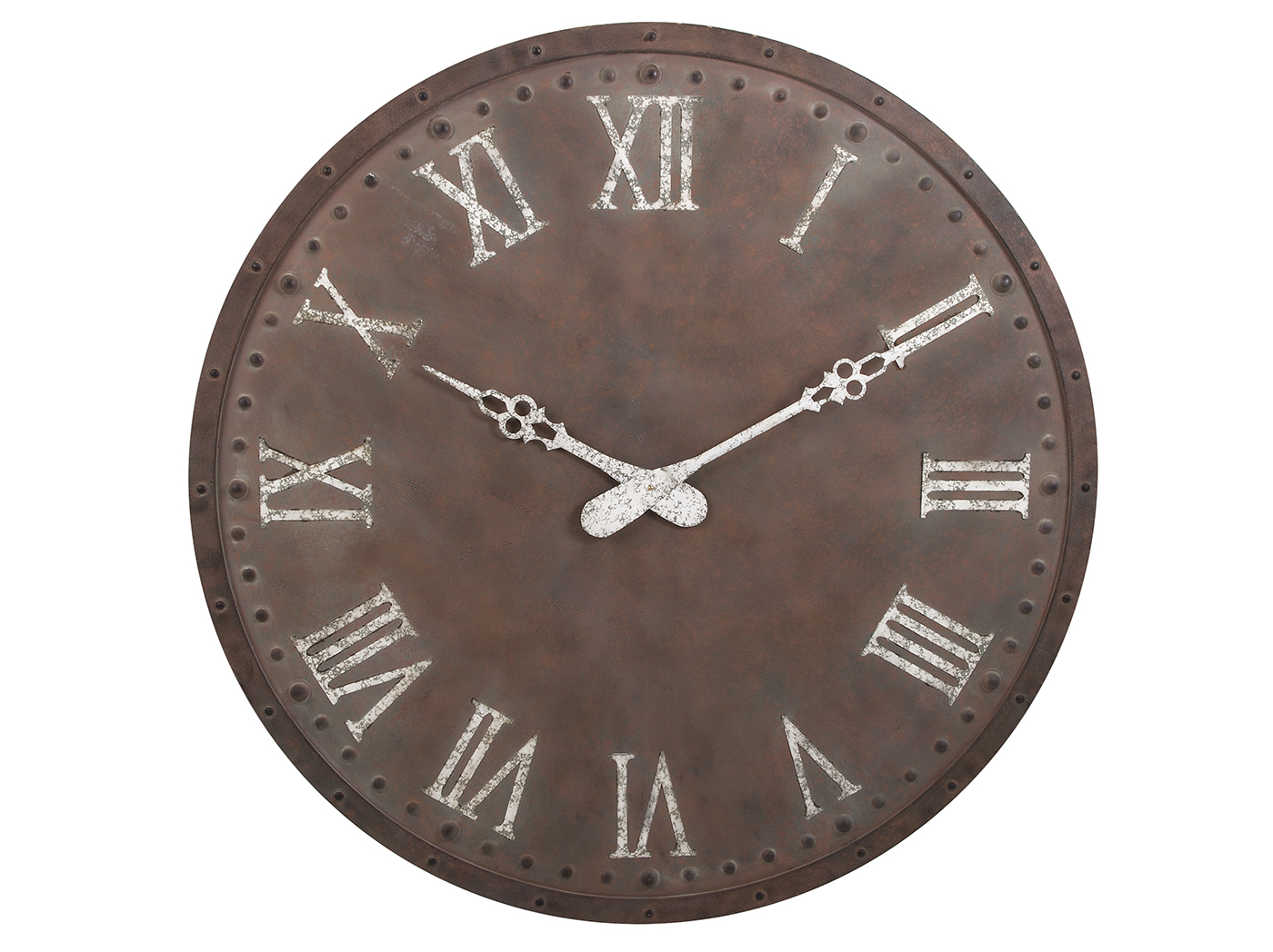 "Antique Brown and White Metal Wall Clock 45""Dia."