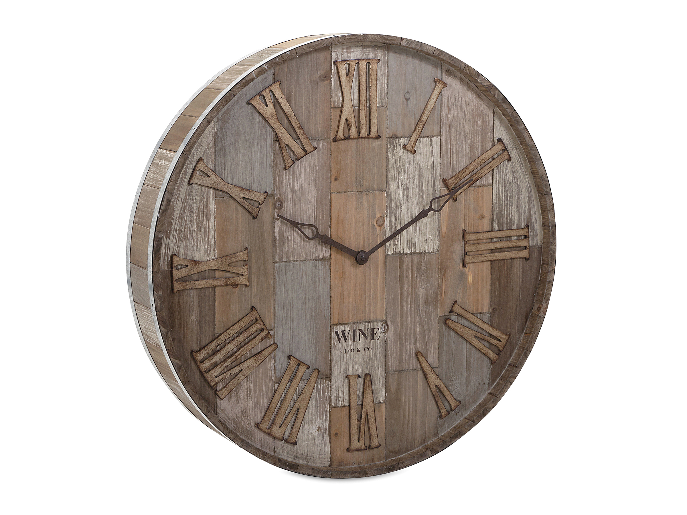 "Wine Barrel Wood Wall Clock 28""Rd"