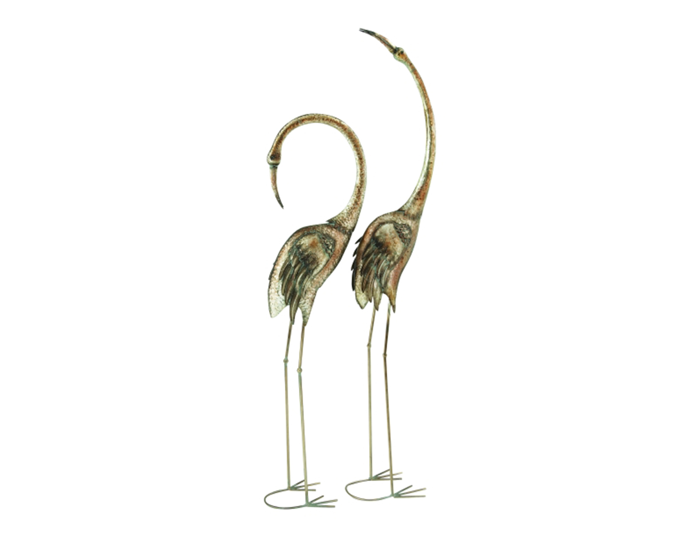 "Set of 2 Metal Flamingos 51/61""H"