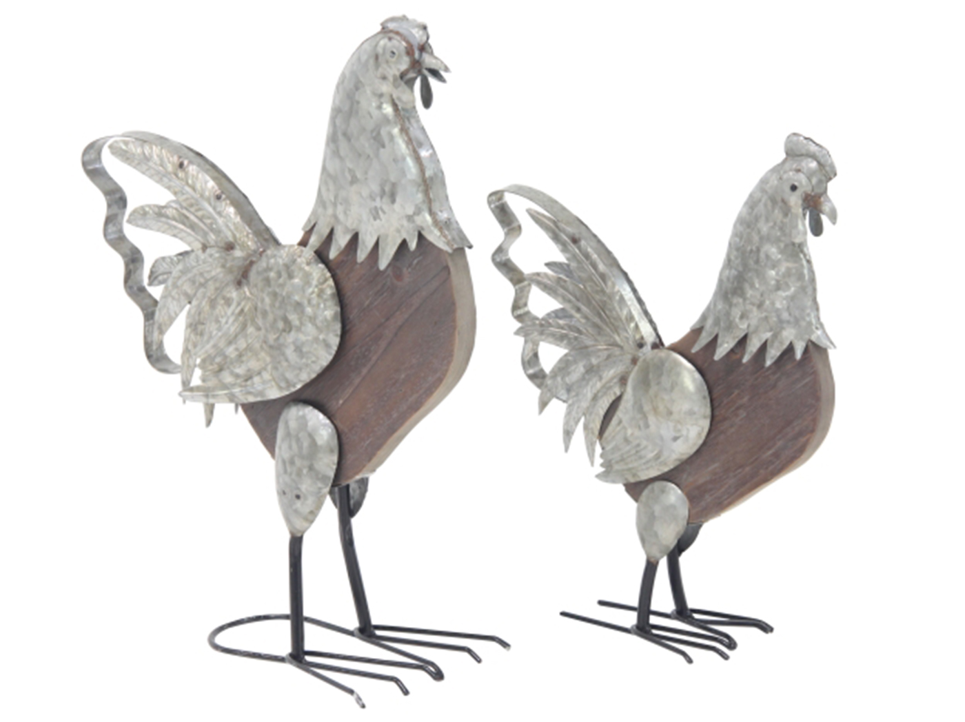 "Set/2 Metal & Wood Roosters 16""H / 20""H"
