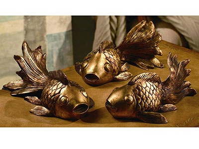 Set of 3 Gold Koi Statues 12X5X7""