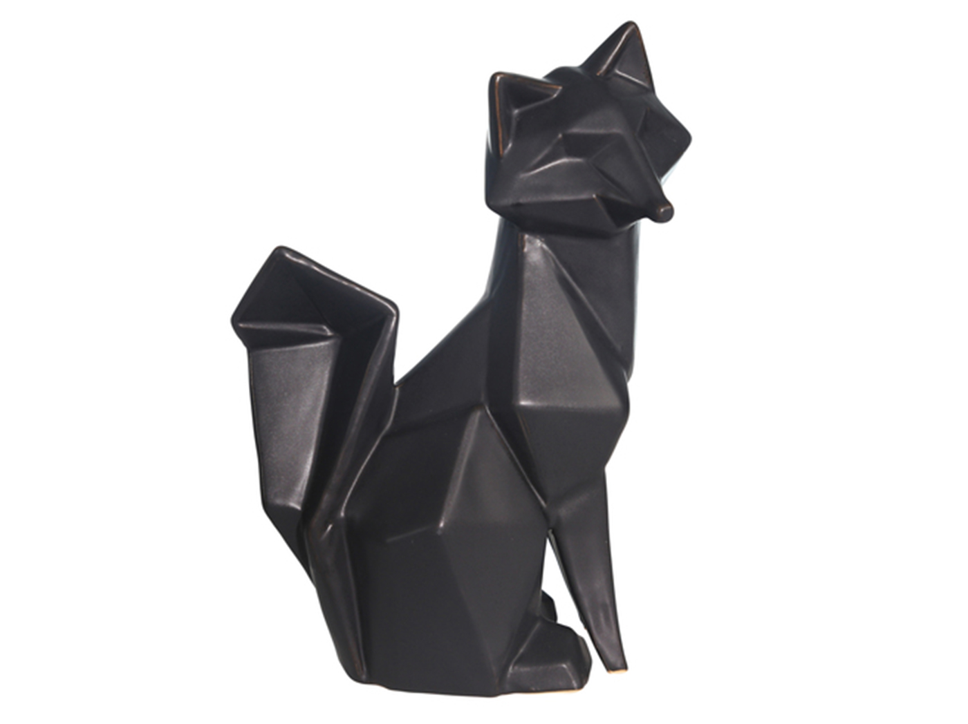 "Black Modern Fox Figurine 7""W x 10""H"