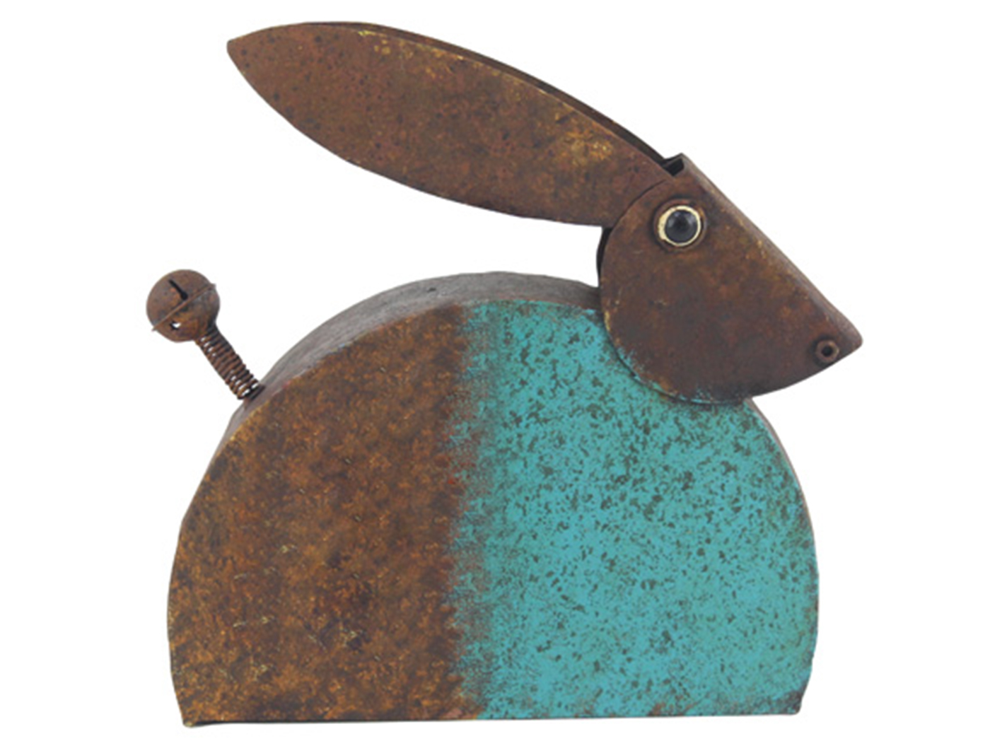 "Metal Blue Rabbit Statue 13""H"