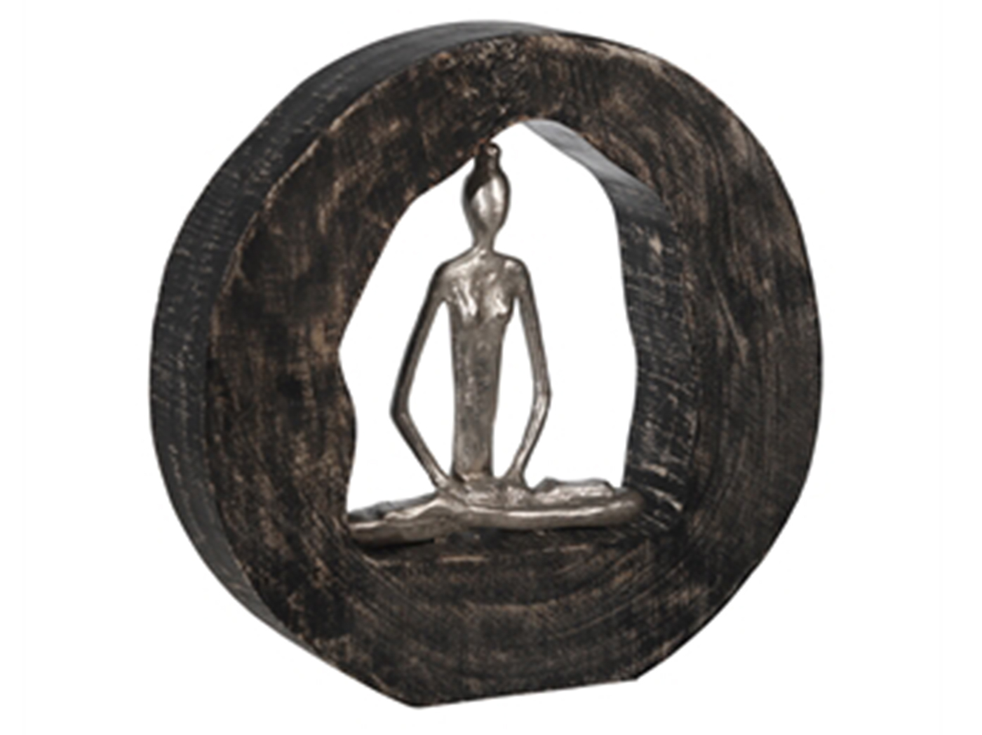 "Silver Yoga Lady in Black Wood Circle Decor 11""W x 11""H"
