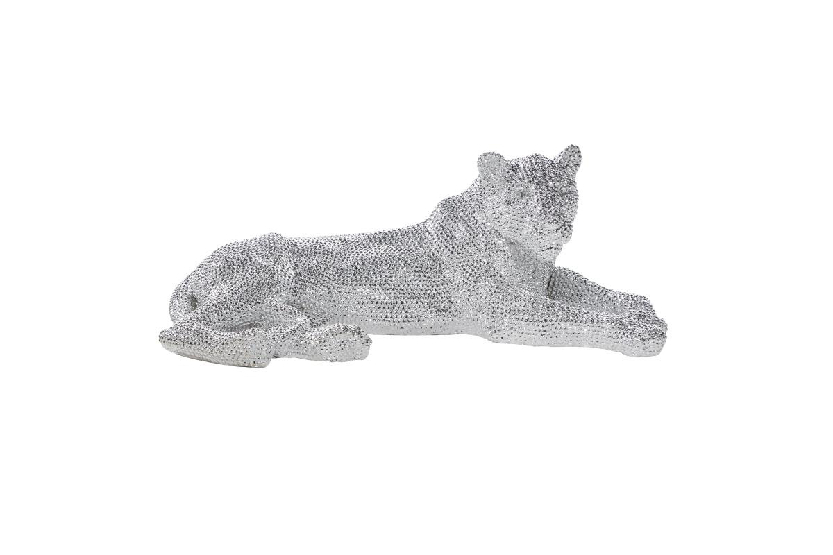 "Silver Bling Laying Panther 39""W x 14""H"