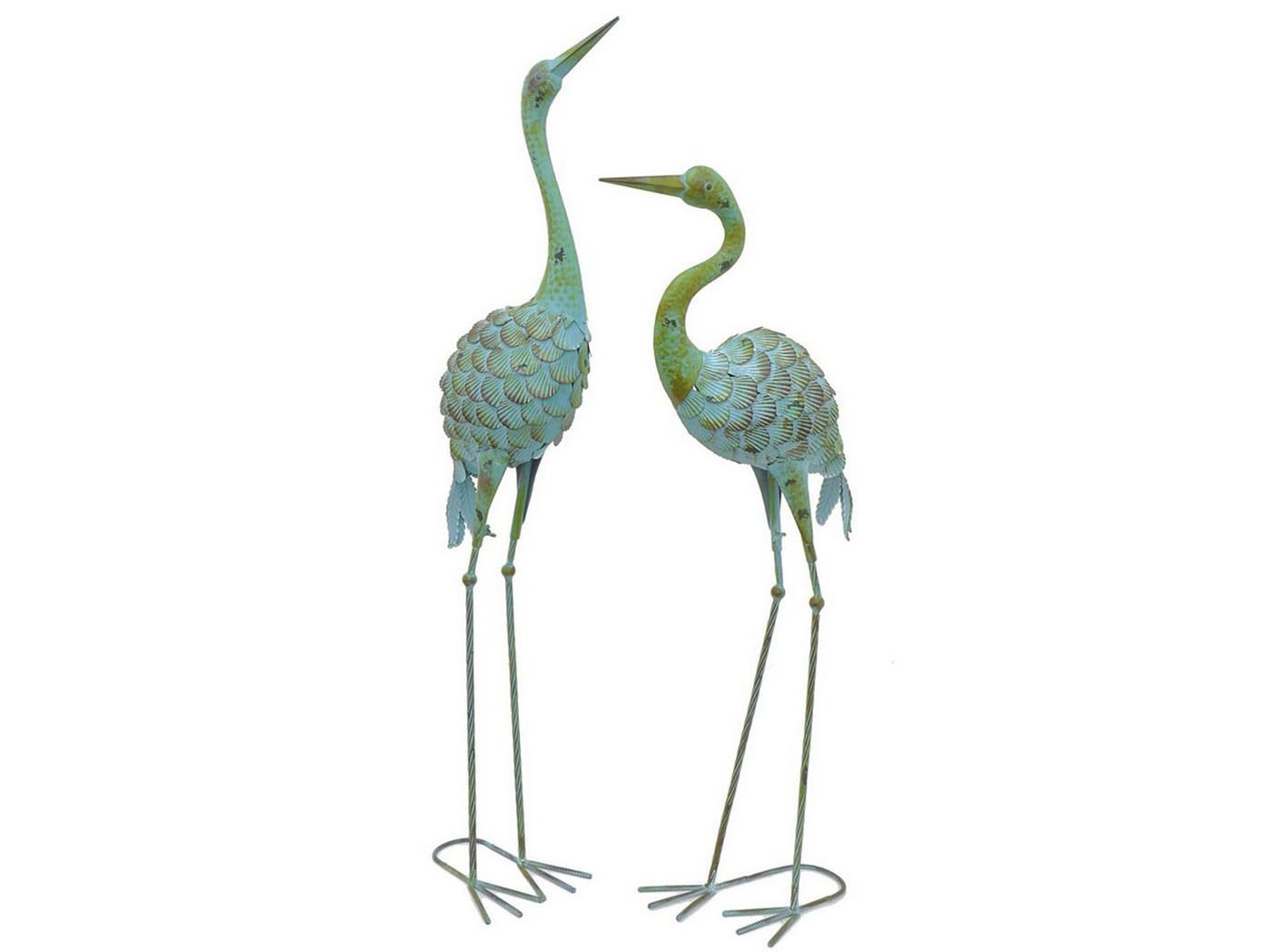 "Set of 2 Metal Crane Figurines 15""W x 37""H"