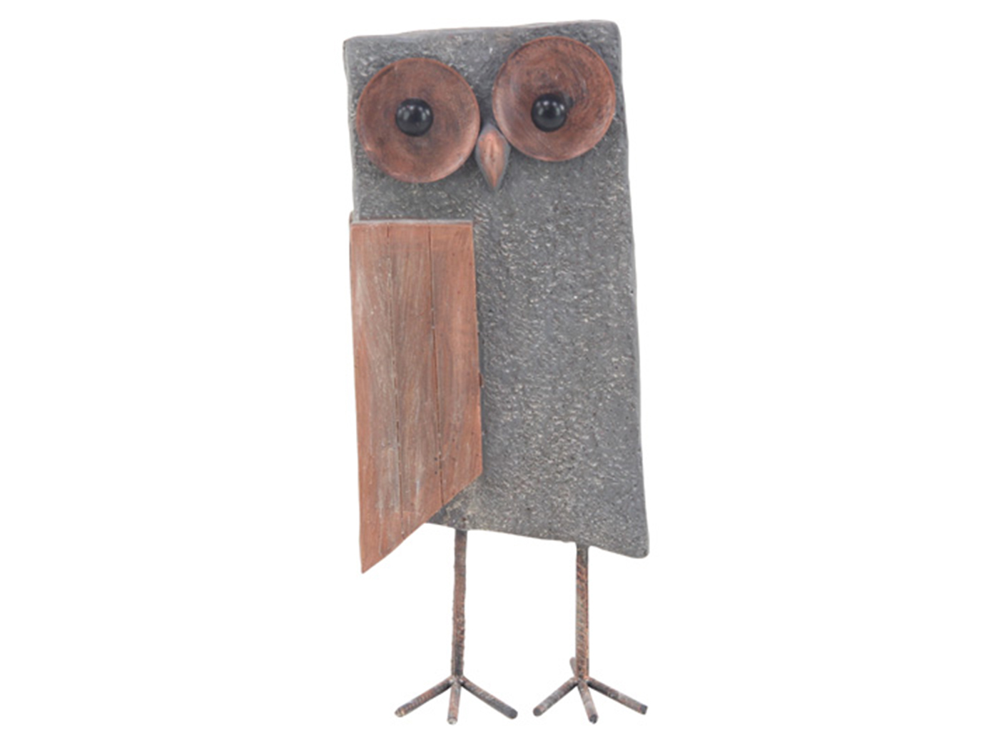 Large Gray Block Owl Statue