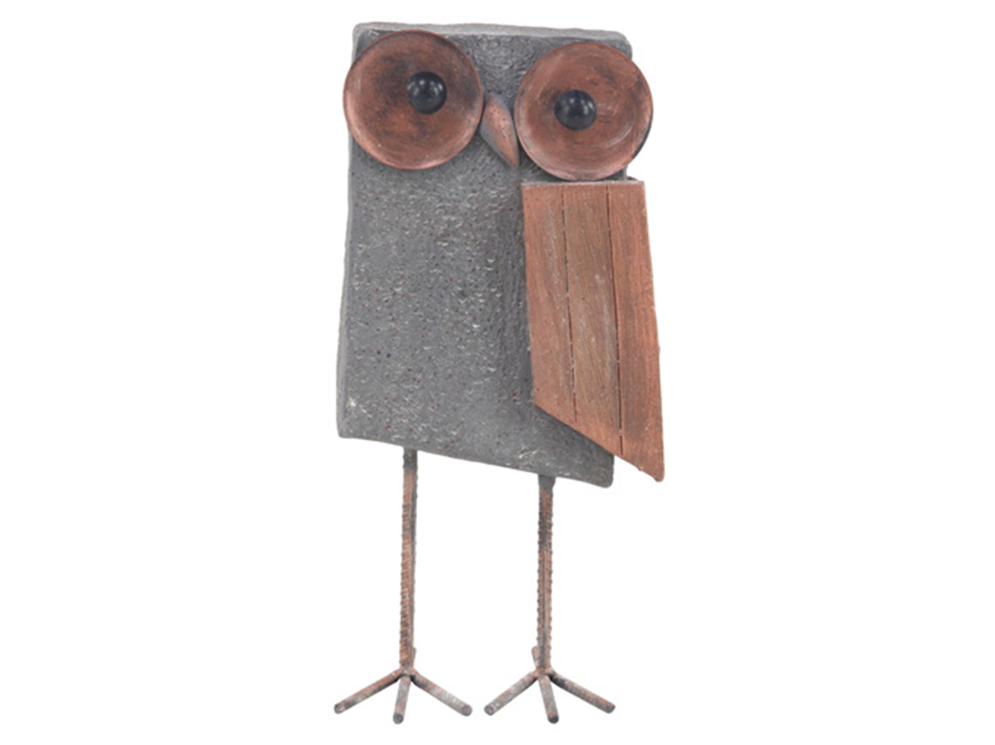 Gray Block Owl Statue