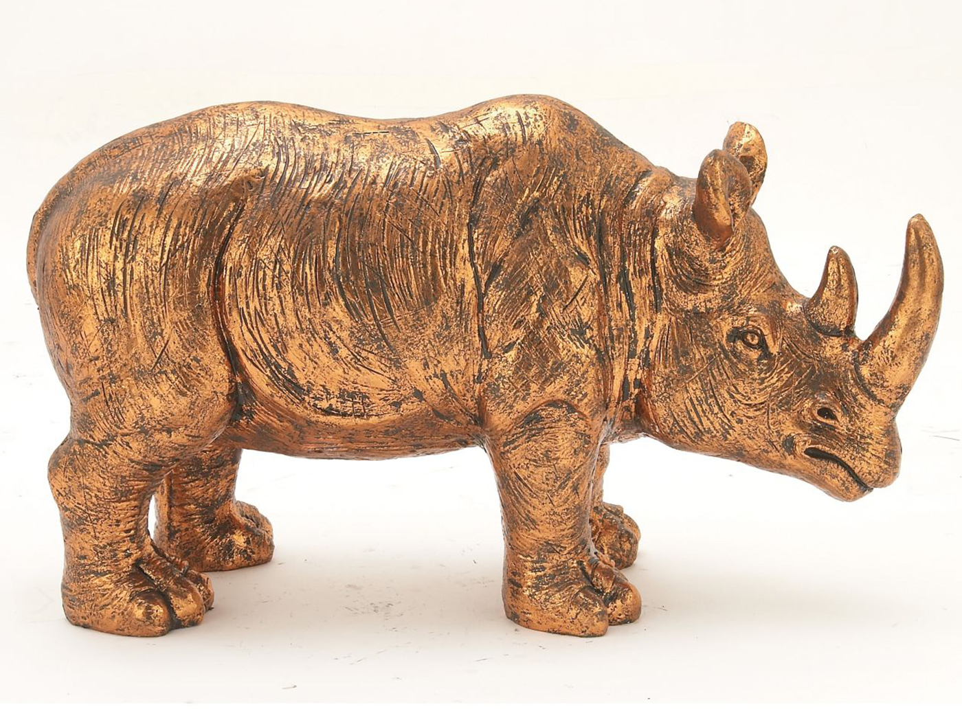 "Bronze Finish Rhino Statue 35""W x 21""H"