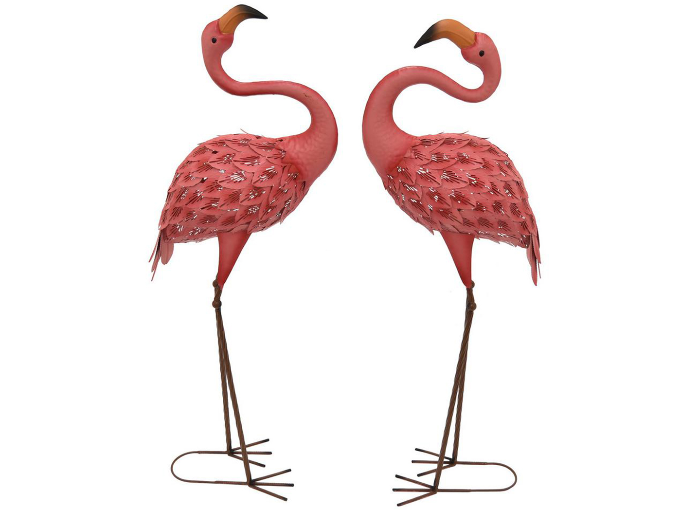 "Set of 2 Metal Flamingos 15""W x 41""H"