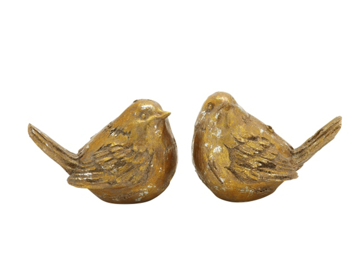 "Set of 2 Gold Bird Statues 8/6""W"