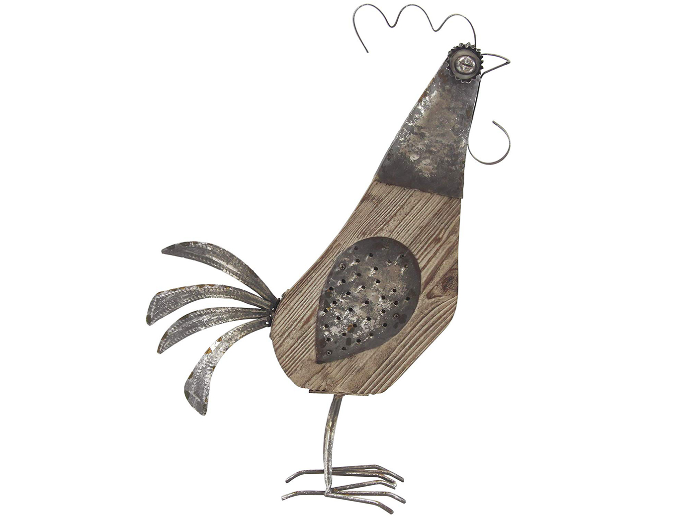 "Grey Metal and Wood Rooster 16""W x 25""H"