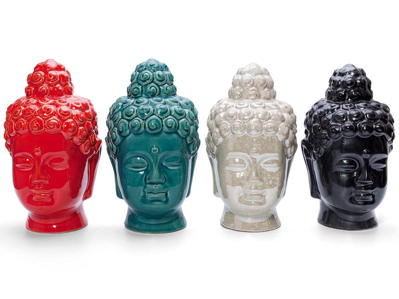 "Assorted Ceramic Buddha Head.6""W x 10""H"