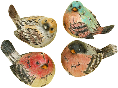 Set of 4 Bird Figures 9X6""