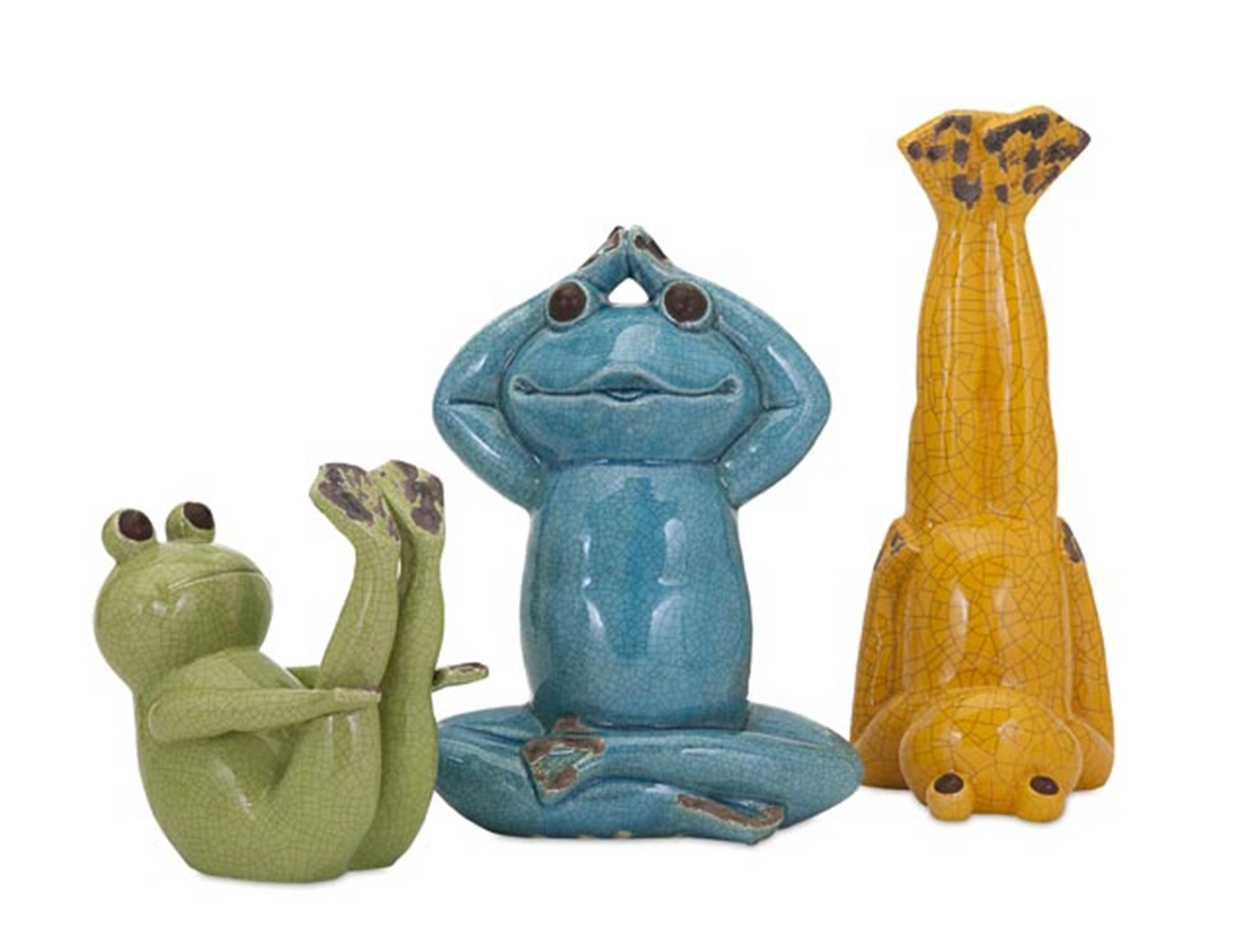 "Set of 3 Yoga Frogs 8/12/14""H"