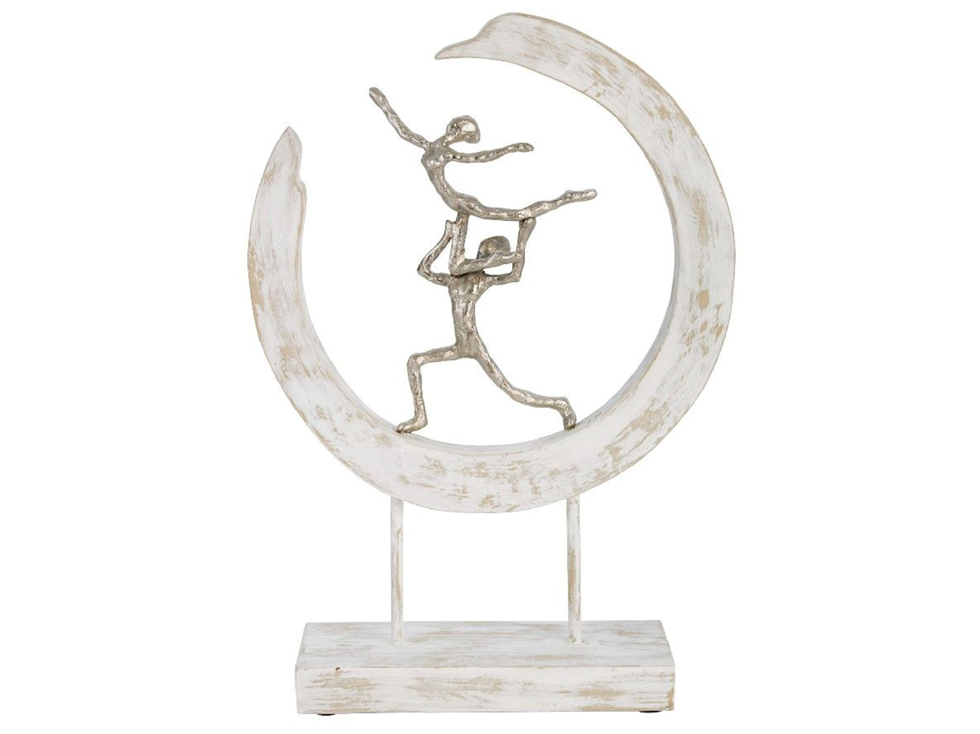 "Dancing Couple In White Washed Wood Ring Decor 13""W x 18.5""H"