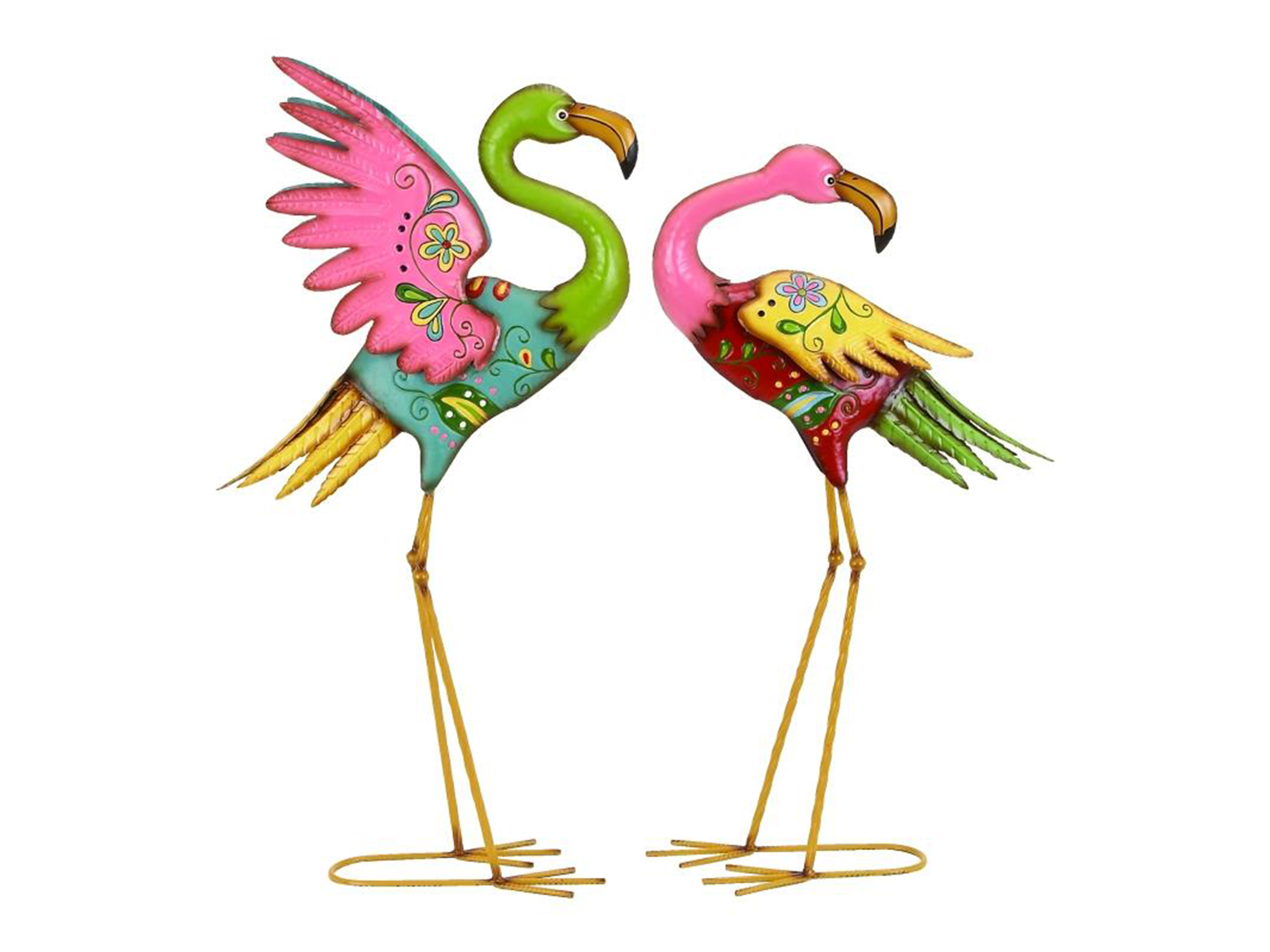 "Set of 2 Multi Color Metal Flamingos 28/32""H"