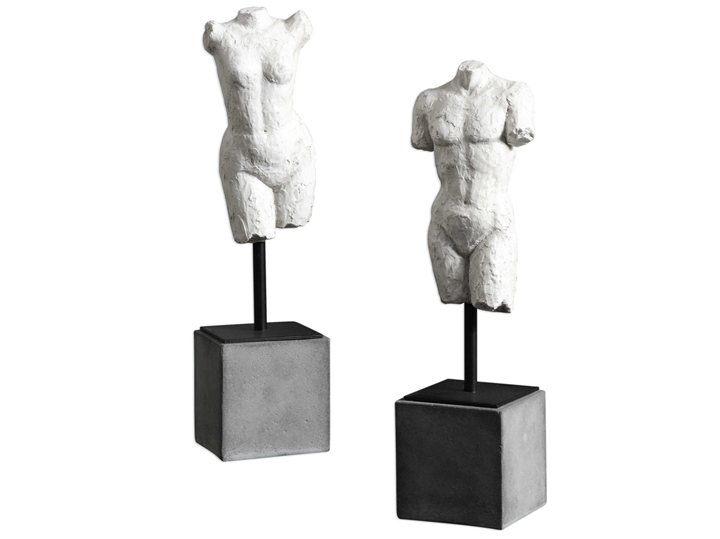 "Set of 2 Torso Sculptures 4""W x 14""H"