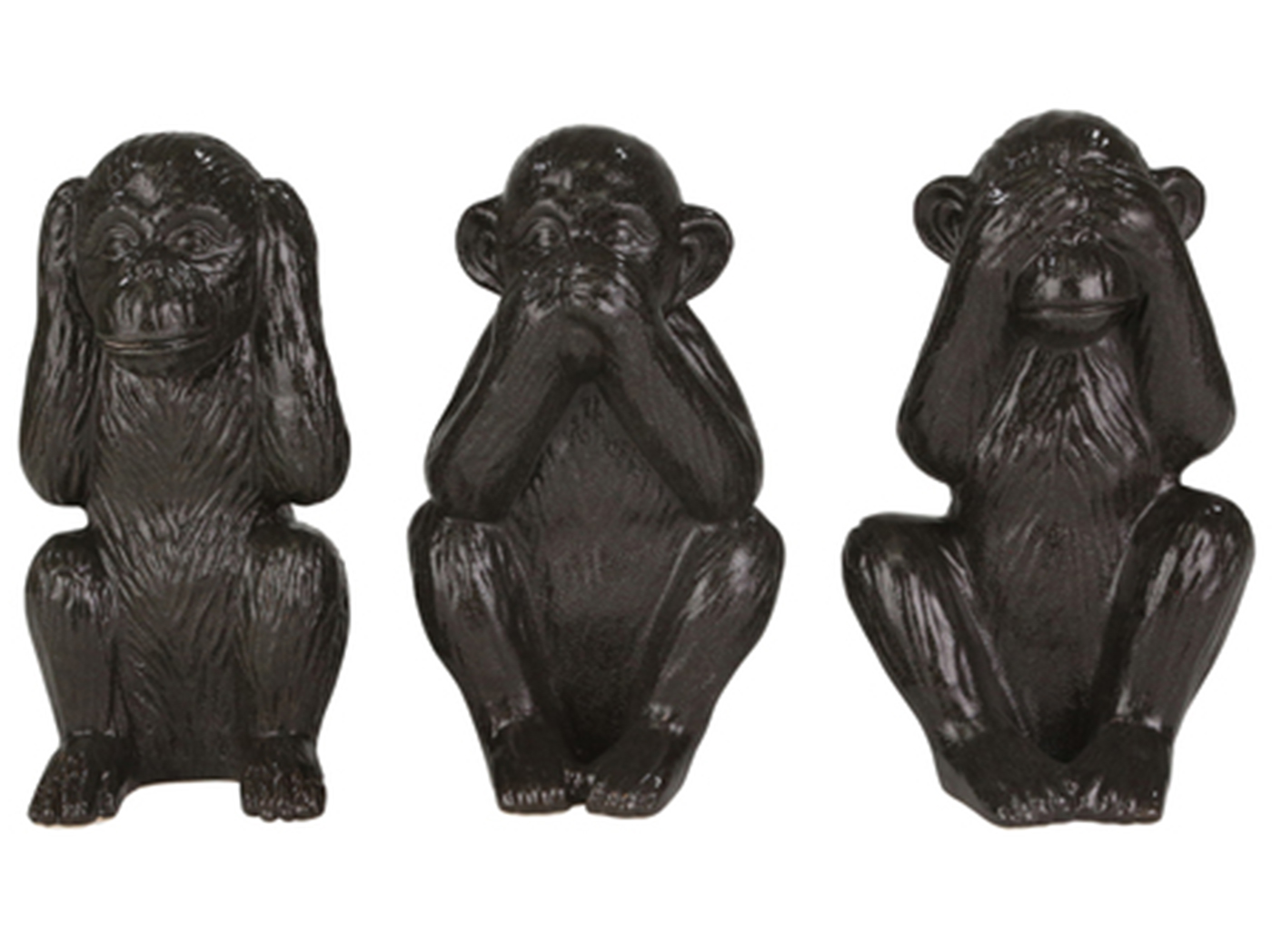 "Set of 3 Black Ceramic ""Hear, Speak, See"" Monkeys 6.5""W x 12""H"