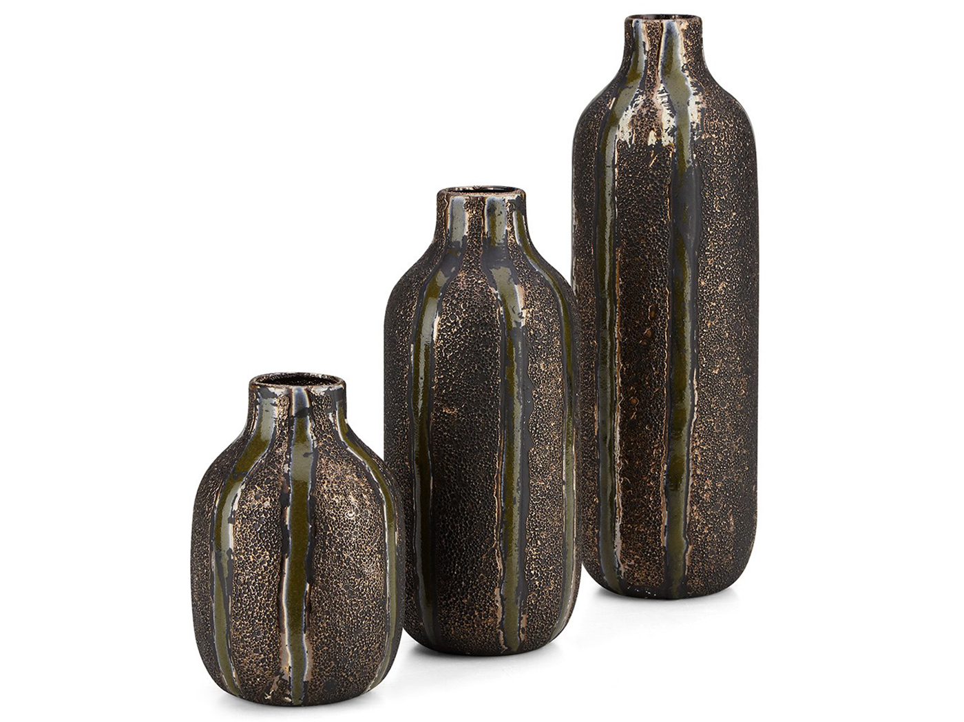 "Set of 3 Bronze Ceramic Vase 4""W x 7/10/13""H"