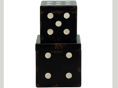 Set of 2 Black Wood Dice Boxes 7/9""
