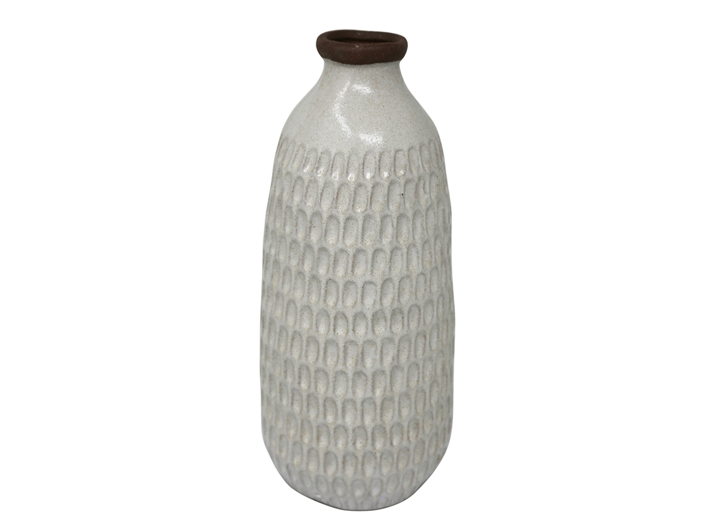 "Large Ivory Ceramic Hammered Vase 5.25""W x 12.25""H"