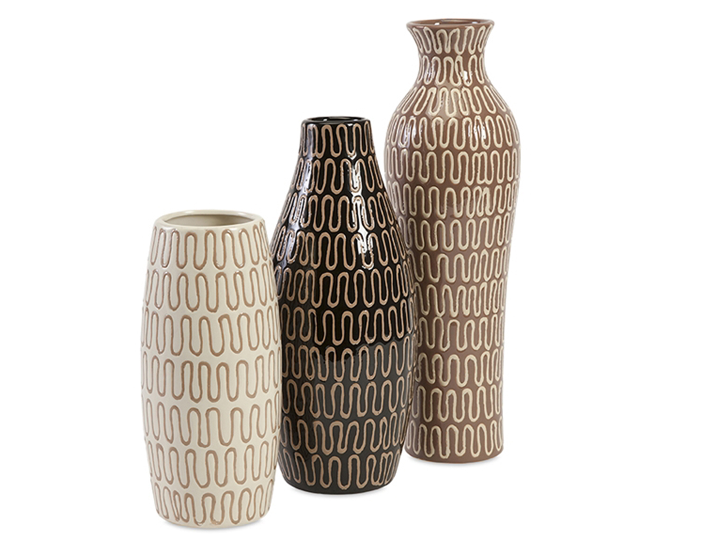 Set of Three Brown Tones Ceramic Vases