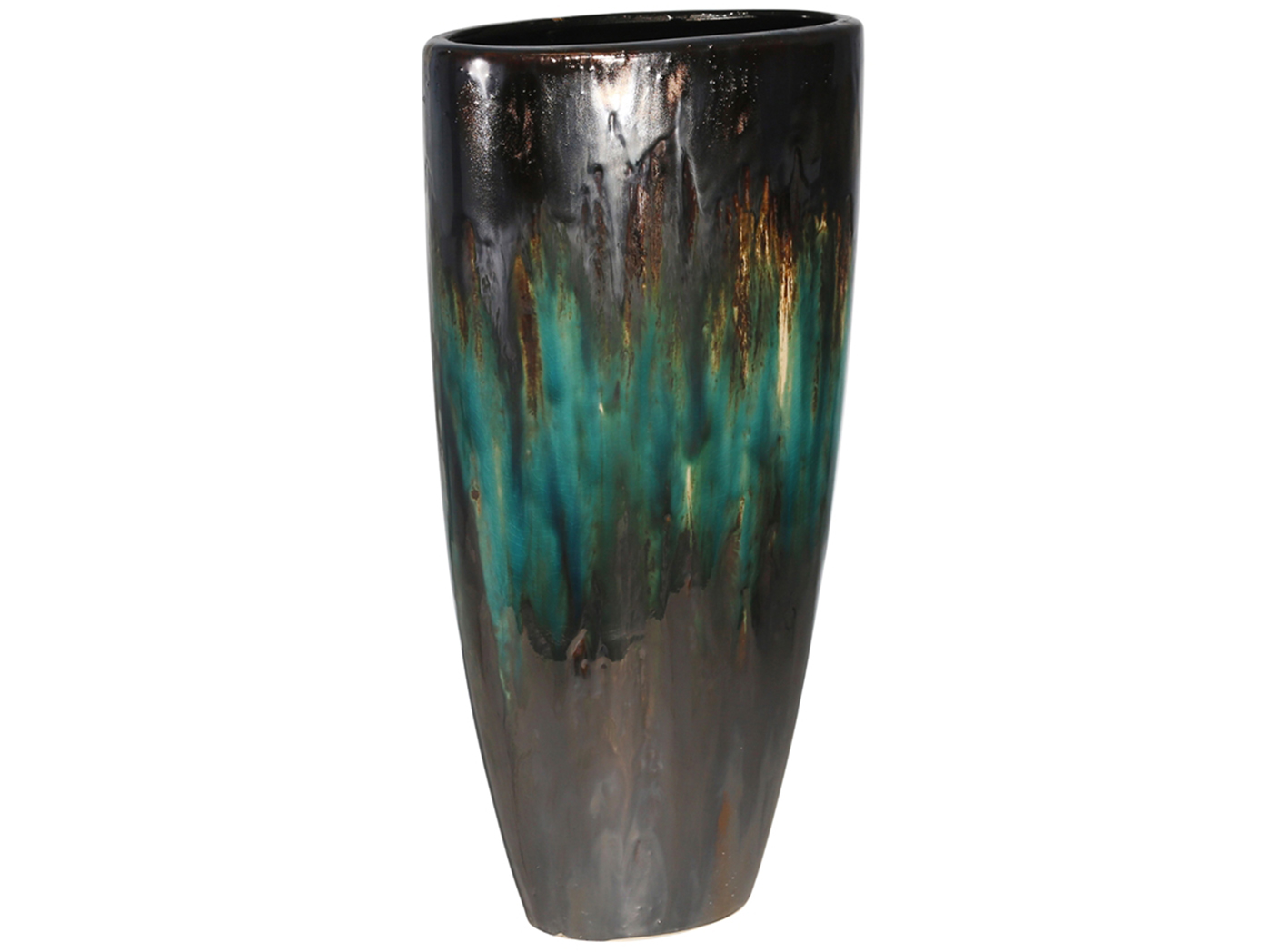 "Small Teal Ceramic Vase 8X4X16""H"