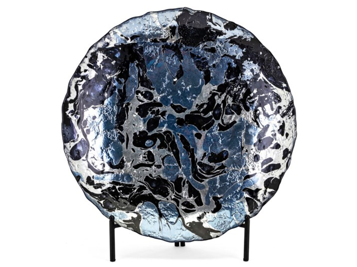 Dark Blue and Silver Glass Charger with Stand 23.75""