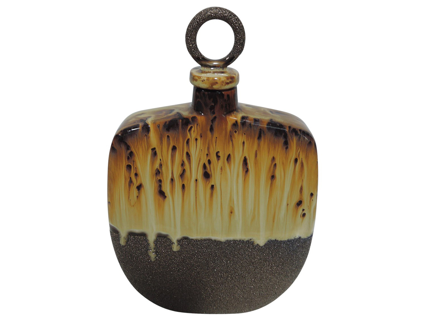 "Small Decorative Ceramic Bottle With Lid 7X12""H"