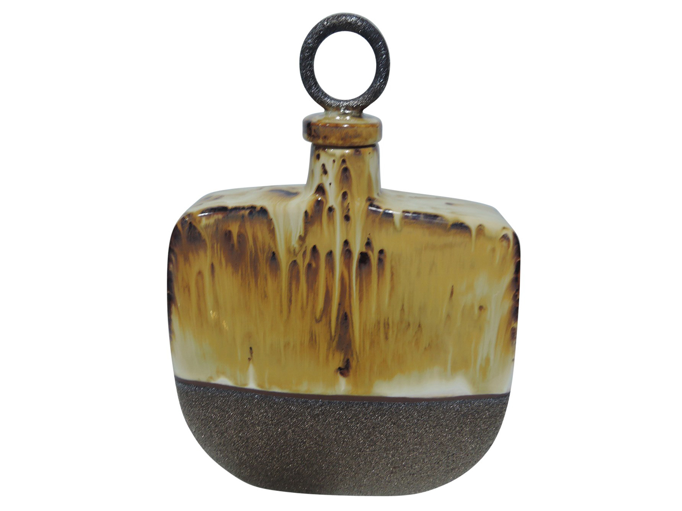 "Large Decorative Ceramic Bottle With Lid 10X15""H"