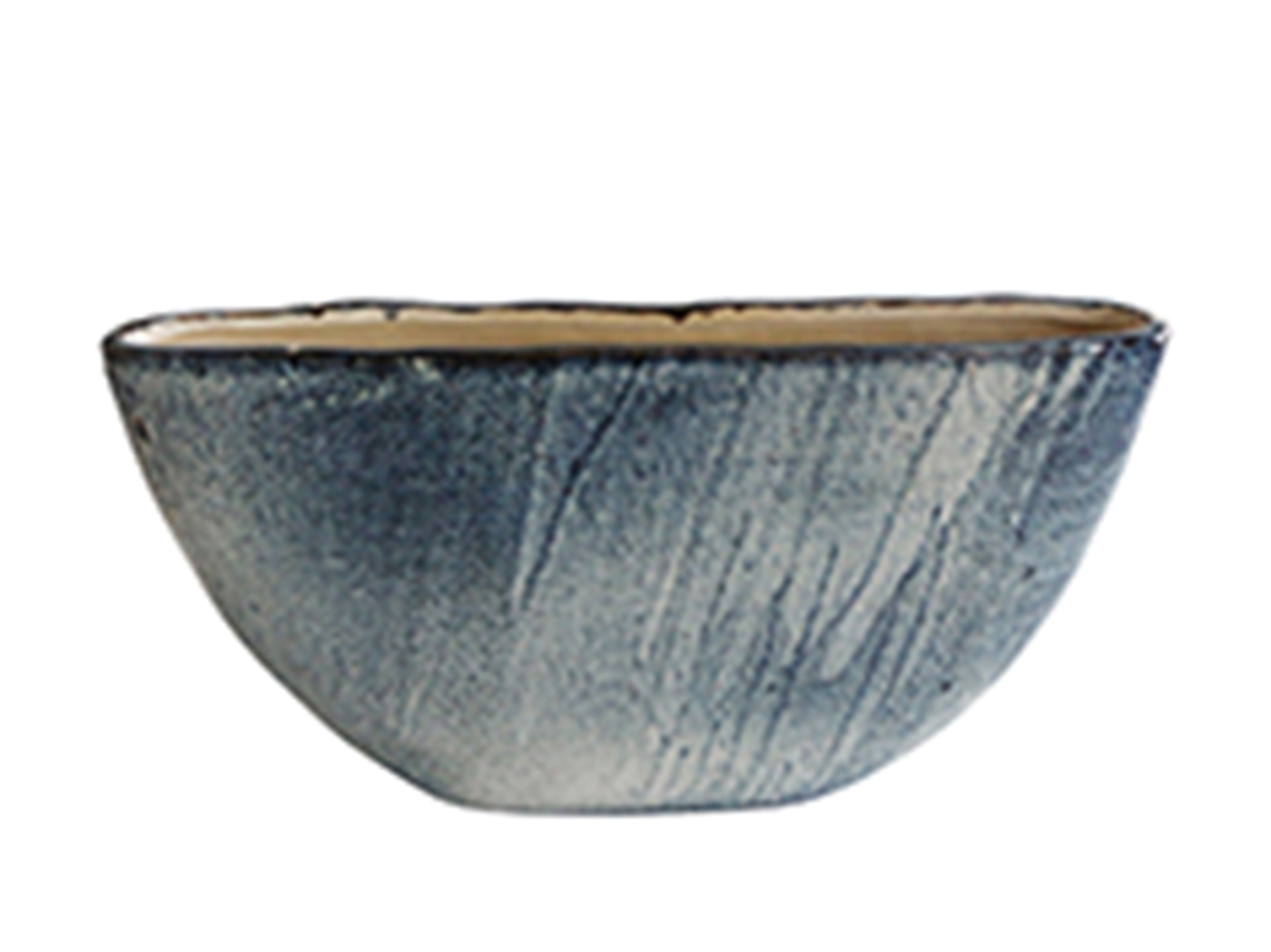 "Large Blue Ceramic Planter 24""W x 13""H"